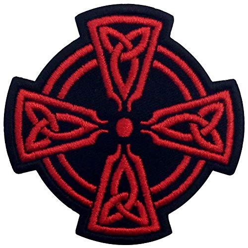 Celtic Cross Circle Patch Embroidered Applique Iron On Sew On Emblem, Red & Black