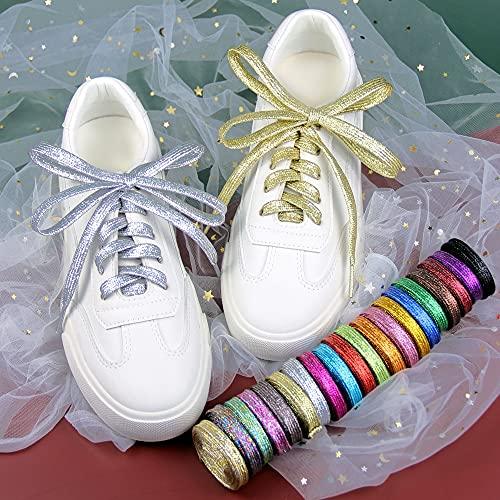 TOSISZ 1 Par De Cordones Planos De Metal Plateado para Zapatos, Cordones para Acampar, Cordones para Zapatos De 110 Cm con Purpurina Metálica, Cordones Dorados Brillantes para Zapatos