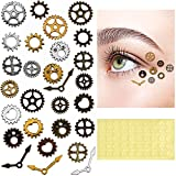 28 Pieces Steampunk Eye Decals Antique Metal Steampunk Accessories DIY Assorted Color Steampunk Gear Cog Wheel with 50 Self-Adhesive Silicone Glue Point Dots for Party Supplies Clothing Dress Up