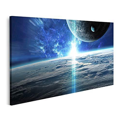 Cuadro en lienzo La escena del universo con planetas, estrellas y galaxias en el espacio muestra la belleza de la exploración espacial Cuadros Modernos Decoracion Impresión Salon