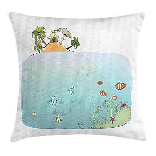 Tropisch kussen kussensloop, Exotic Heaven Island met palmbomen en huisvissen zwemmen strand kust, decoratieve vierkante Accent kussensloop, 18 X 18 inch, Multi kleuren