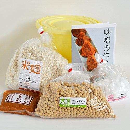 味噌手作りセット(やや甘口版)4kg用 樽付き(大豆0.85kg,米麹1.40kg,塩490g)