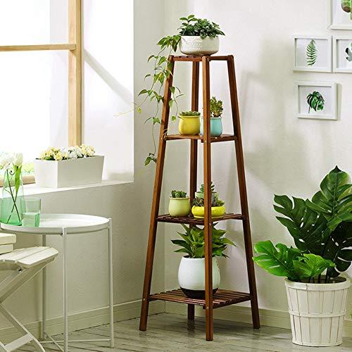 m·kvfa 4-Tier Bamboo Plant Stand, Flower Display Planter Rack Plants Pots Holder Wooden Organizer Storage Shelves for Indoor Home Office