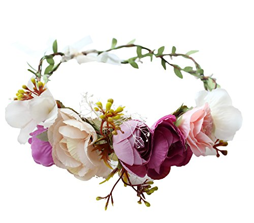Floral Crown Rose Flower Headband Hair Wreath...