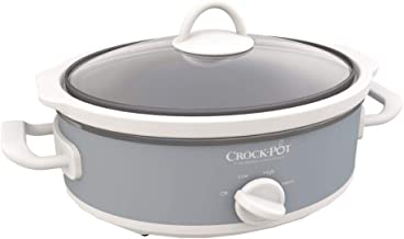 Yeslike Casserole Crock Mini Oval Slow Cooker, 2.5-Quart, Gray