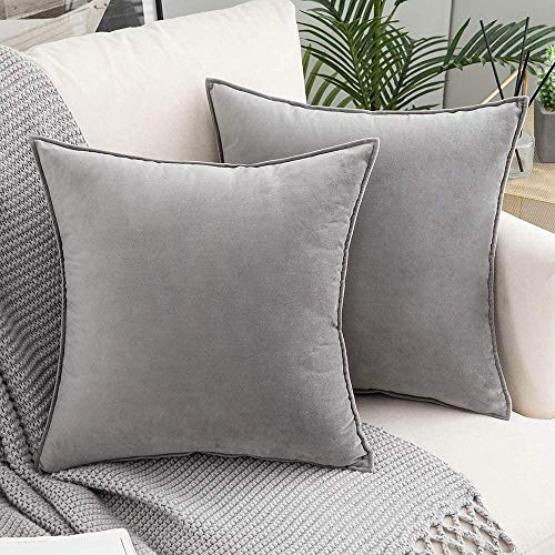 SXYHKJ Corduroy Decorative Cushion Cover Without Filling,2 x Velvet Cushion Cover with Hidden Zip,for Sofa and Patio, Living Room, Bedroom, Office in Large Colour Selection (grau, 50x50cm)