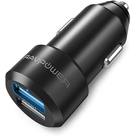 Car Charger RAVPower 24W 4.8A Metal Dual USB Car Charger Adapter, Compatible with iPhone 11/Pro/Max XS Max XR X 8 7 Plus, iPad Pro Air Mini, Galaxy S9 S8 S7 S6 Edge Note and More (Black)