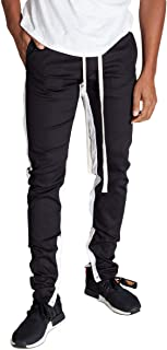 KNDK Men's Tapered Skinny Fit Stretch Drawstring Ankle Zip Striped Track Pants