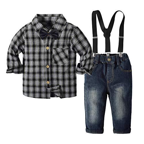 Yilaku 4-Teiliges Kleinkind Jungen Bekleidungsset Gentleman Kinder Langarm Hemd + Hose mit Fliege Anzug Kleidung Set Weihnachten Taufanzug Anzug Festlich Junge(Schwarz, 5-6 Jahre)