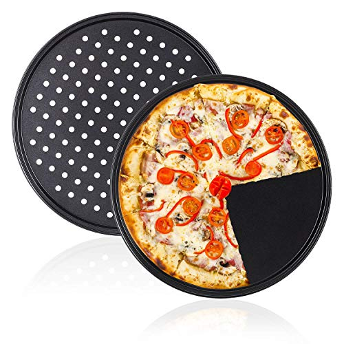Plato de Pizza, Juego de Bandeja Horno Pizza Antiadherente, Juego de 2 Piezas, Perforado y No Perforado, 32 CM, Negro