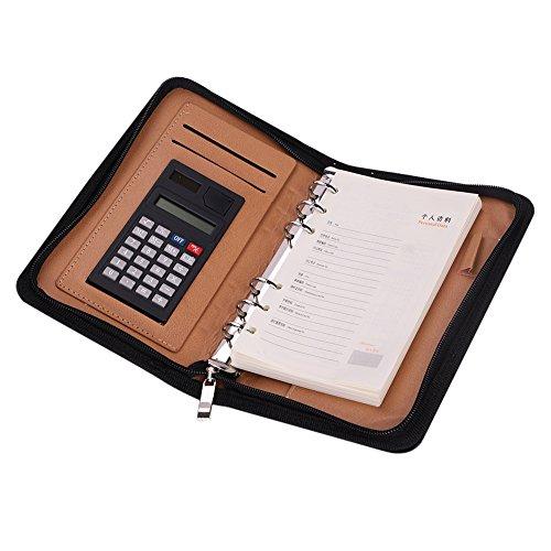 A6バインダー 手帳 システム手帳 ビジネス用 ノート 電卓付き 多機能 大容量 ルーズリーフ ファスナー付き 実用性 シンプル カード/名刺入れ 母の日 父の日 入職祝い プレゼント 出張 会議 ブラック