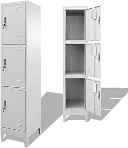 Festnight Mueble Archivador Armario de Oficina Acero con 3 Compartimentos,38x45x180 cm(Tipo 3)