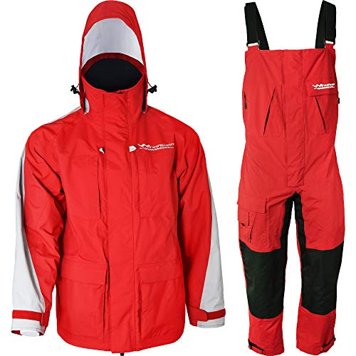 WindRider Pro Foul Weather Gear - Rain Suit - Jacket + Bibs - Breathable, Numerous Pockets, Mesh Lined for Comfort - for Fishing, Sailing, Outdoor Adventuring (Red, XXL)