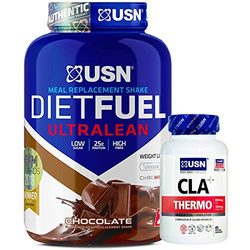 USN Meal Replacement Shake Diet Fuel Ultralean Protein 2KG Weight Loss Powder + USN CLA+ Thermo 45 Softgel Capsules