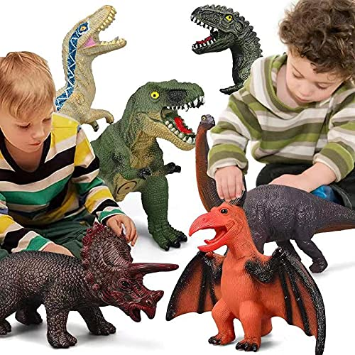 6 Piece Dinosaur Toys for Kids and Toddlers, Blue Velociraptor T-Rex...