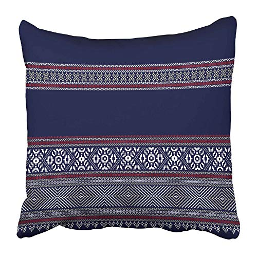 AEMAPE Throw Pillow Cases Blue Boarder Colorful Aztec Pattern Red Boder Geometric Abstract Culture Ethnic Graphic 40X40 Cm Funda de cojín