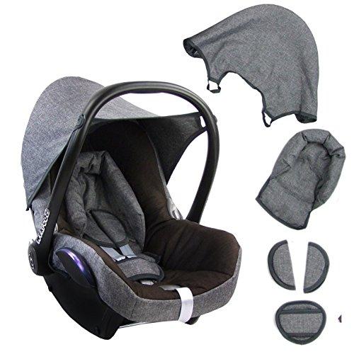 BAMBINIWELT Ersatzbezug für Maxi-Cosi CabrioFix 6-tlg. GRAU/DUNKELBRAUN, Bezug für Babyschale, Komplett-Set XX