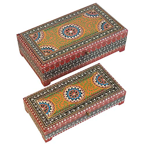 2 cajas para joyas orientales Karisma multicolor en juego de 2 ❤ Artesanía | Cajas para joyas de madera pintadas a mano ❤ Idea de regalo original para mujer, novia, mujer, Navidad, RK11-30