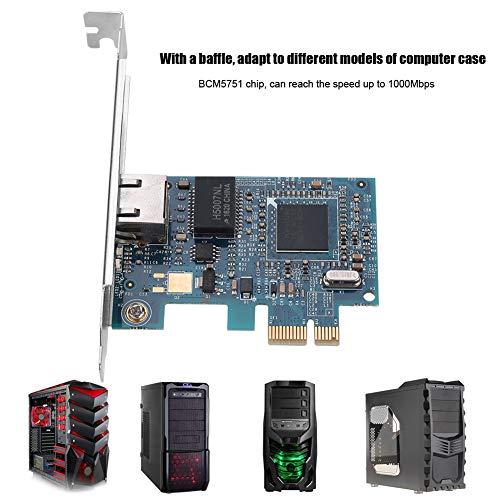 Bindpo Netzwerkkarte, 10G Fast Ethernet Server Gigabit-Netzwerkkarte 1000 Mbit/s WiFi PCI-EX1 Desktop-Netzwerkkarte für Büro, Internetcafé, Überwachung