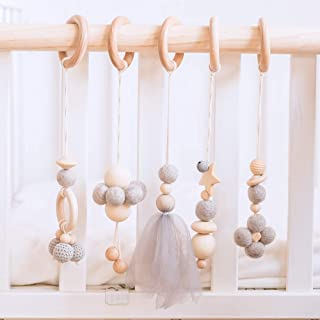 Let`s Make Wooden Hanging Toys Baby Play Gym Activity Set of 5 Newborn Gym Hanging Toys