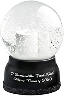 Hilarious Toilet Paper Snow Globe I Survived The Great Toilet Paper Crisis Cute Tiny Crystal Clear Glass Snow Globe, Creat...