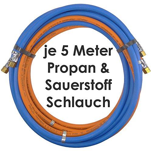 Propan Sauerstoff Gasschlauch Zwillingsschlauch 5 Meter - Semperit Profi Gummischlauch zum autogen schweißen oder schneiden - Semperit Profiqualität von Gase Dopp
