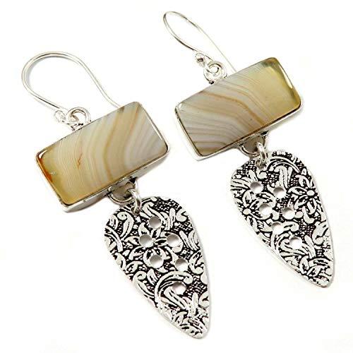 Goyal Crafts GEL98 - Pendientes colgantes de ágata botsuana con piedras preciosas naturales bañadas en plata