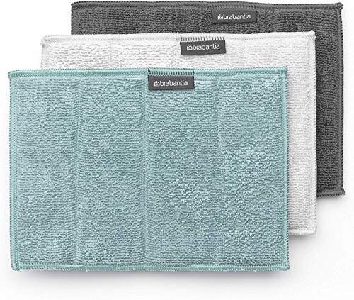 Brabantia Mikrofaser (3er Set) Reinigungstuch, Mehrfarbig (Dark Grey, Light Grey, Mint), 16 x 22 cm