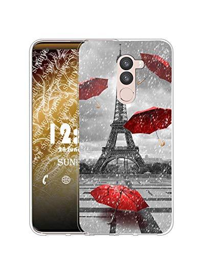 Sunrive Funda Compatible con Ulefone S8, Silicona Slim Fit Gel Transparente Carcasa Case Bumper de Impactos y Anti-Arañazos Espalda Cover(Q Torre de Hierro)