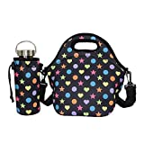 Case Wonder Neoprene Water Resistant Portable Heavy-Duty Insulated Lunch Bags Carry Portable Heavy-Duty Zipper Case Tote with Zipper Strap Box Cooler Container Bags Containers Picnic Outdoor Travel Fashionable Handbag Pouch for Women Men Kids Girls Adults (Black+Water Bottle Tote) by Case Wonder