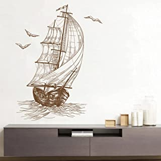 Retro Sailing Wall Sticker Cartoon PVC Backdrop Decor for Home Kids Room Decals Wall Art Wallpaper Stickers Poster