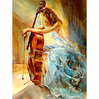 Paint by Number Kits - Cello and Graceful Lady 16x20 Inch Linen Canvas Paintworks - Digital Oil Painting Canvas Kits for Adults Children Kids Decorations Gifts  No Frame