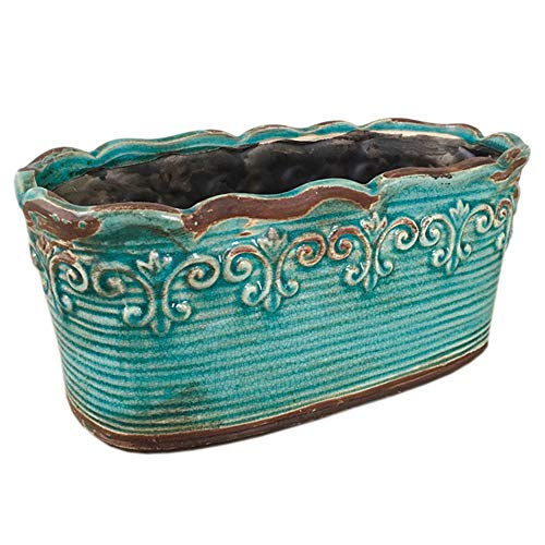 Rectangular Ceramic Orchid Plant Pot French Country Planter Succulent Container Windowsill Planter Decoration (10 Inch, Rectangle) (Blue)
