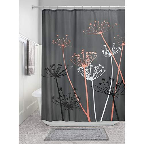 iDesign Thistle Duschvorhang | 183,0 cm x 183,0 cm großer Badewannenvorhang | waschbarer Duschvorhang aus weichem Stoff | mit Blumen-Motiv | Polyester grau/koralle
