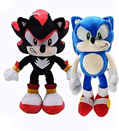 EREL Sonic Plüsch 2 Teile/Satz Big 45cm Sonic Plüsch Peluche Sonic Super Sonic The Igel Plüsch Spielzeug Sonic Shadow Knuckles Tails Nette weiche gefüllte Puppen dedu