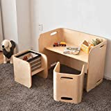 Wooden Kids Table and 2 Chairs Set,3 in 1 Multifunctional Children's Desk with Storage Space,Convertible Toddler Study Desk for Learning Drawing-Natural Wood 3-Piece
