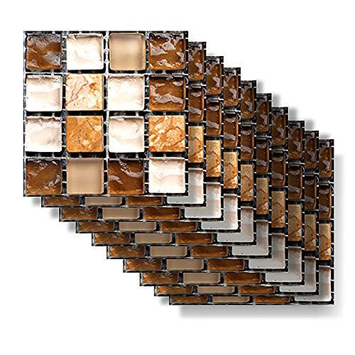 Mosaik Tapete, Fliesenaufkleber für die Küche, 10 Stück / Set Mosaik Wandfliesenaufkleber Wasserdichter selbstklebender Aufkleber (MSC044)