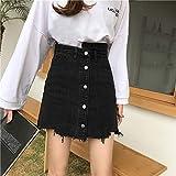 DER versión coreana de la cintura alta fue delgada de un solo pecho irregular cruda falda para mujer Negro Negro ( 44