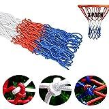 Zuzer Red de Canasta de Baloncesto, 3pcs Estándar Pesado Red de Baloncesto Profesional Malla de Baloncesto Adecuado para Entrenamiento de Baloncesto en Interiores y Exteriores