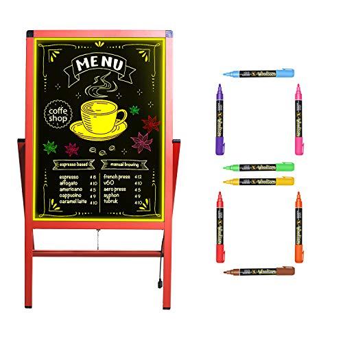"Woodsam 28""x 20"" LED Sign A Frame Chalk Board/Felt Letter Chalkboard/Markers Erase Calendar/Bulletin/Yard Signs Sidewalk Neon Glass&Chalk Black Board Standing Easel for Wedding Decor/Outdoor Display"