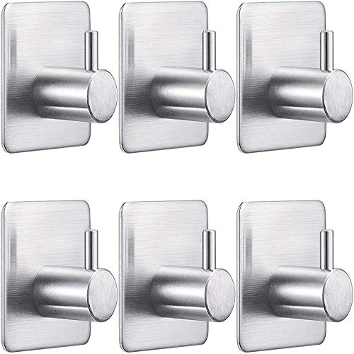 Pack of 6 Self-Adhesive Hooks, Stainless Steel Towel Holder, Clothes Hooks for Kitchen and Bathroom, Max 3 kg, Bathrobe Hooks, Wall Hooks