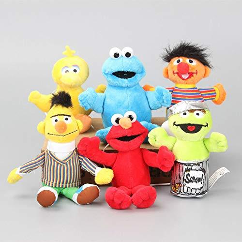 Zpong Dibujos Animados 6 Unids / Set 13-16 Cm Sesame Street Elmo Cookie Monster Muñeco De Peluche Lindo Títere Juguetes De Peluche Niños Navidad Y Regalo De Cumpleaños