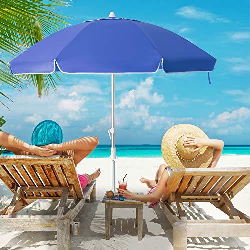 MEWAY 6.5ft Beach Umbrella with Sand Anchor & Tilt Mechanism
