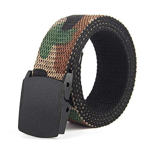 Cinturón de hebilla no metálica camuflaje de doble cara con cinturón de lona cinturón de lona cinturón de lona cinturón de algodón de ocio, marrón, Talla única