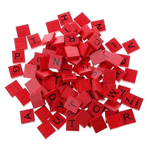 JIUYECAO 100 piezas de azulejos de madera coloridos, letras de alfabeto barnizado