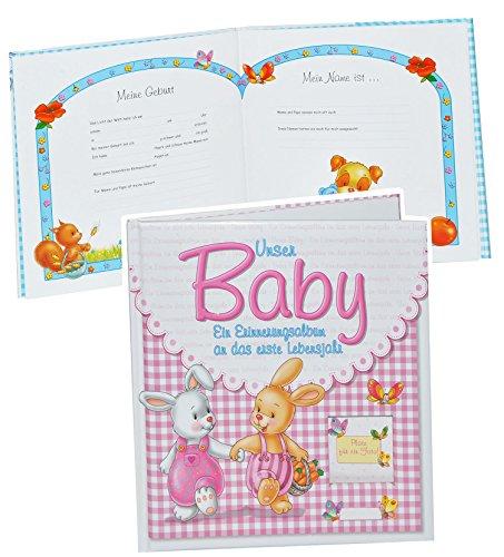 Unbekannt Erinnerungsalbum Baby - an das erste Lebensjahr - für Mädchen - erste Fotos - Gebunden - Babyalbum Kinderalbum - rosa pink Babys...