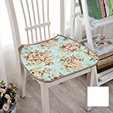 Peacewish Thin Chair Cushion Countryside Floral Chair Seat Pads Cotton Dining Chair Cushions with Ties, Non Slip, Washable (Flower 5, Set of 4)