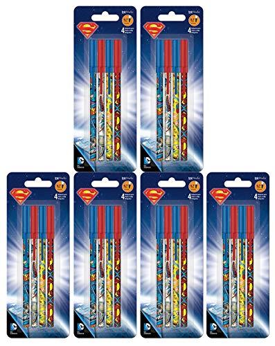 Set of 24 Superman Stick Ballpoint Pens - Writing or School Supplies! Novelty Pens! (24 Pens)