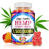 Hemp Gummies for Pain and Anxiety 1,500,000mg High Potency Omega 3, 6, 9 Gummy Bears Supplements Natural Organic Safe Stress Relief Inflammation Sleep and Good Mood
