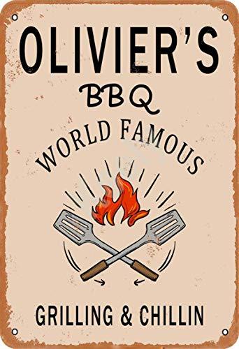 Keely Olivier'S BBQ World Famous Grilling & Chillin Decorazione da Parete in Metallo Vintage con targhetta in Metallo 12x8 Pollici per Bar, ristoranti, Pub, Uomo, Grotta Decorativa